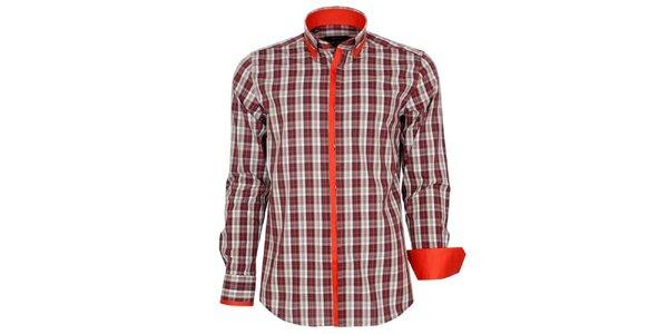 Pánska oranžovo kockovaná košeľa Brazzi