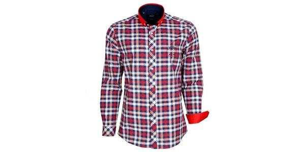 Pánska červeno-modro-biela kockovaná košeľa Brazzi