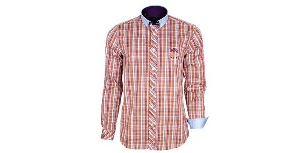 Pánska oranžovo kockovaná košeľa s modrým golierom Brazzi