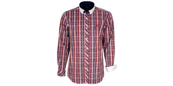 Pánska červeno kockovaná košeľa s bielym golierom Brazzi