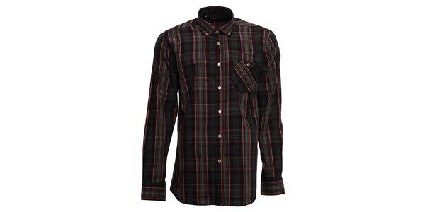 Pánska tmavá kockovaná košeľa s červenými prúžkami Brazzi