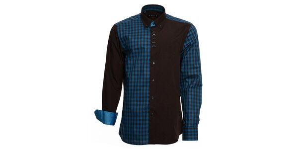 Pánska čierno-modrá košeľa s kockou Brazzi