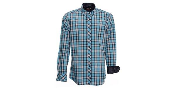 Pánska tyrkysovo kockovaná košeľa s bodkovanými manžetami Brazzi