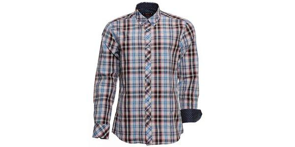 Pánska kockovaná košeľa s bodkovanými manžetami Brazzi