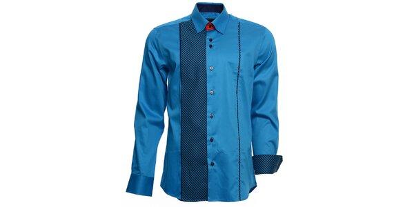 Pánska tyrkysová košeľa s kockovanými detailmi Brazzi