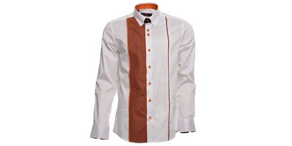 Pánska biela košeľa s oranžovými detailmi Brazzi