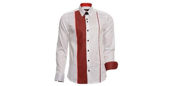 Pánska biela košeľa s červenými detailmi Brazzi