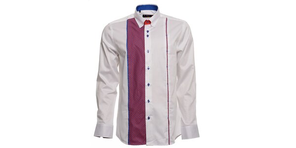 Pánska biela košeľa s fuchsiovo-modrými detailmi Brazzi