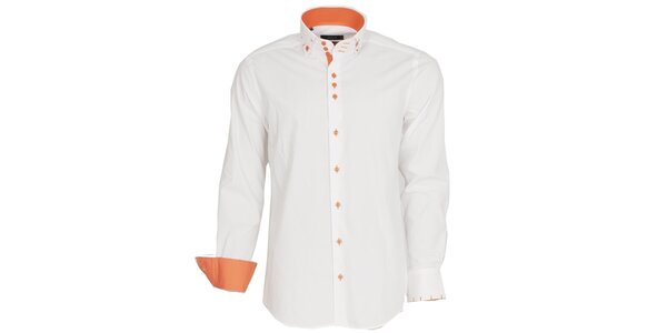 Pánska biela košeľa s oranžovými manžetami Brazzi