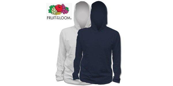 Šedé a modré tričko s kapucňou