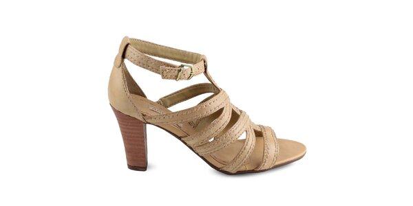 Dámske béžové topánky s hnedým opätkom Arezzo