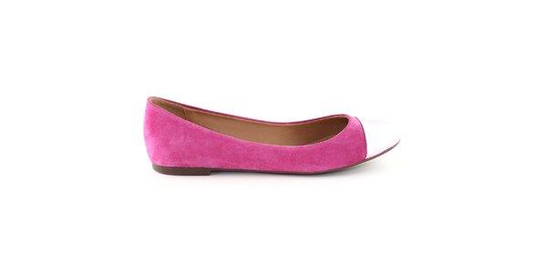 Dámske sýto ružové semišové balerínky s kontrastnou špičkou Arezzo