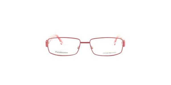Červené okuliarové obrúčky s bielymi detailmi Emporio Armani