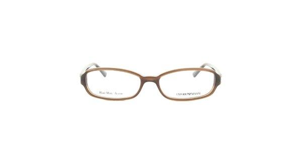 Dámske oválne hnedé okuliarové obrúčky Emporio Armani