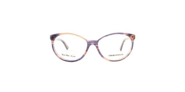 Dámske oválne farebne žíhané okuliarové stranice Emporio Armani