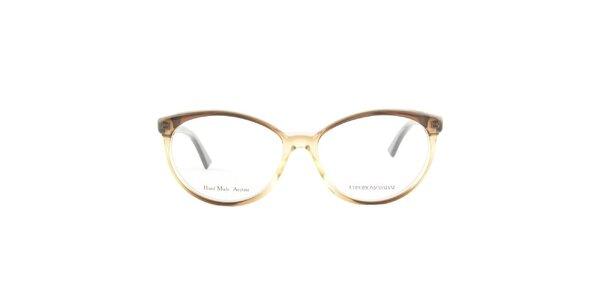 Dámske oválne hnedé transparentné okuliarové stranice Emporio Armani