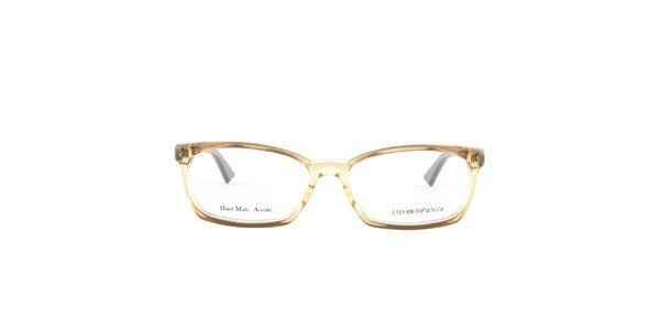 Dámske hnedé transparentné okuliarové obrúčky Emporio Armani
