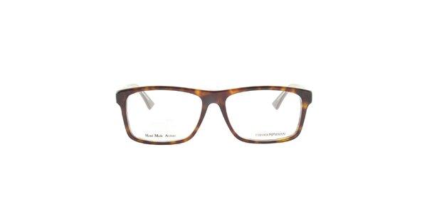 Hnedo žíhané okuliarové obrúčky Emporio Armani
