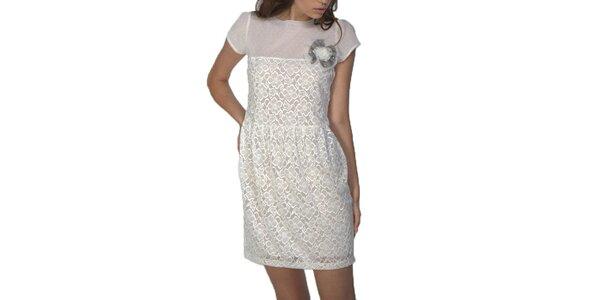 Dámske krátke šaty v bielej farbe Arefeva