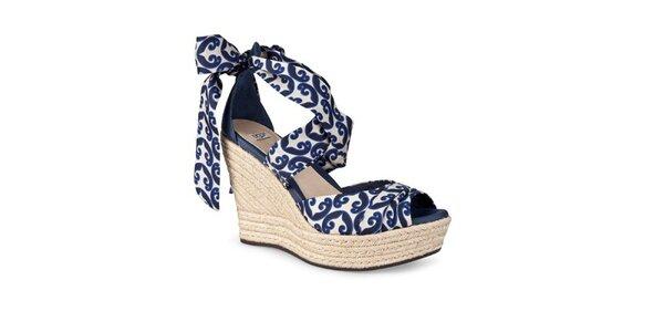 Dámske modro-biele zaväzovacie sandálky Ugg