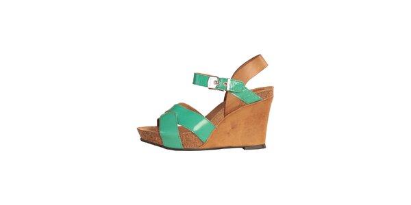 Dámske zeleno-karamelové sandále na kline Dr. Scholl