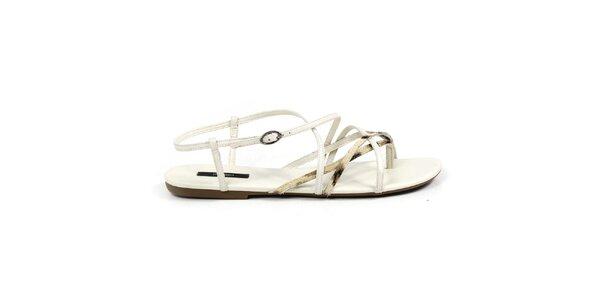 Dámske biele sandálky so zlatými remienkami Made In