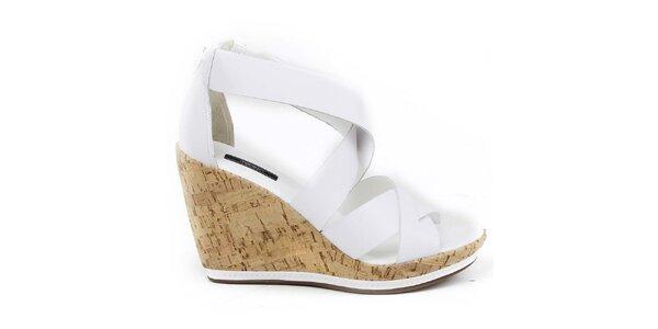 Dámske biele sandálky na kline Made In