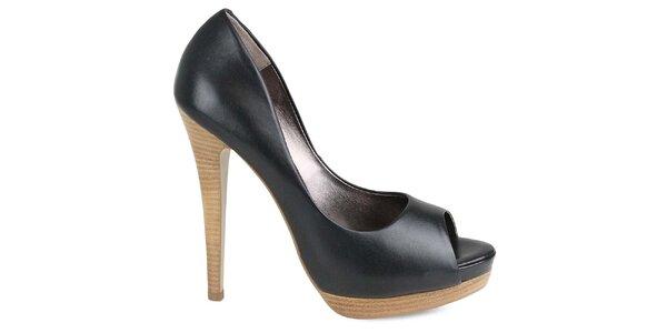 Dámske čierne topánky na vysokom opätku Made In