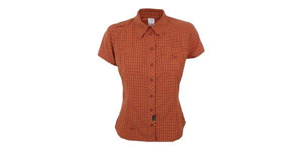 Dámska oranžovo kockovaná košeľa s krátkym rukávom Hannah