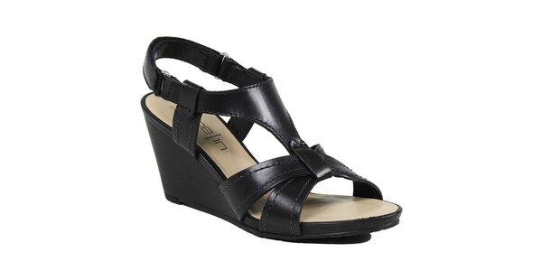 Dámske čierne sandálky na kline Made In