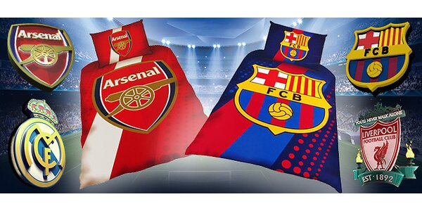 Posteľné prádlo - Barcelona, Arsenal, Real Madrid a Liverpool