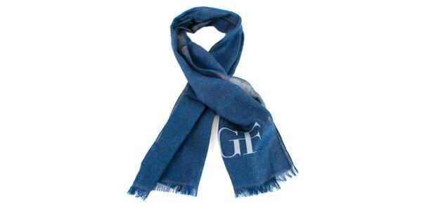 Modrá šatka so strapcami Gianfranco Ferré