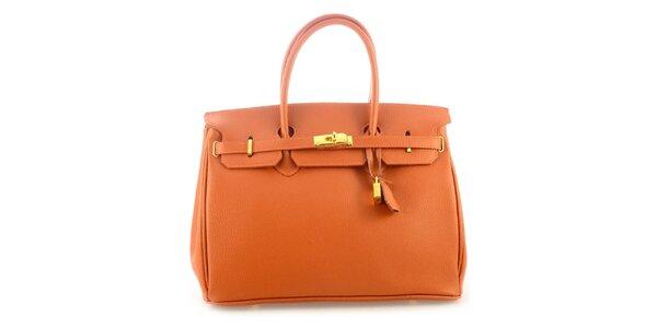 Dámska koňakovo hnedá kožená kufríková kabelka Florence Bags