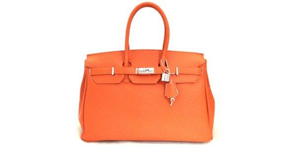 Dámska oranžová kožená kufríková kabelka Florence Bags