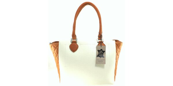 Dámska bielo-béžová prešívaná kabelka Florence Bags