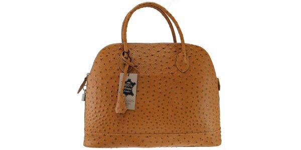Dámska kožená hnedá kabelka v imitacii pštrosej kože Florence Bags