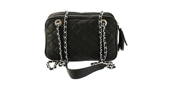 Dámska čierna prešívaná kabelka s retiazkou Florence Bags