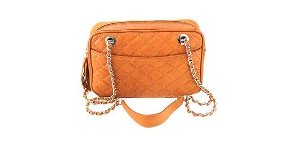 Dámska svetlo hnedá prešívaná kabelka s retiazkou Florence Bags