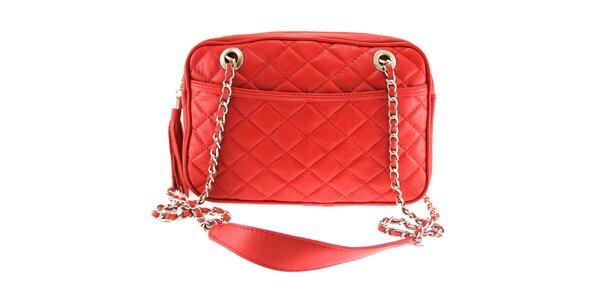 Dámska červená prešívaná kabelka s retiazkou Florence Bags