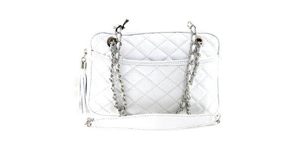 Dámska biela prešívaná kabelka s retiazkou Florence Bags