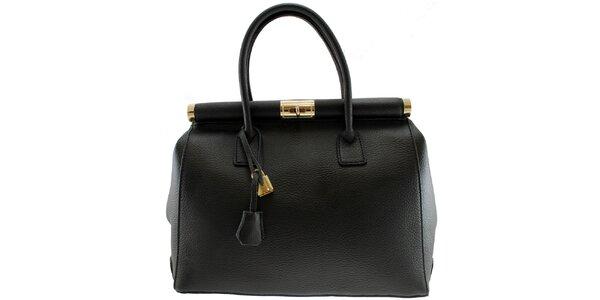 Dámska čierna kožená kabelka so zlatým zámčekom Florence Bags