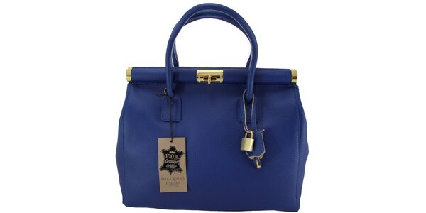 Dámska modrá kožená kabelka so zlatým zámčekom Florence Bags