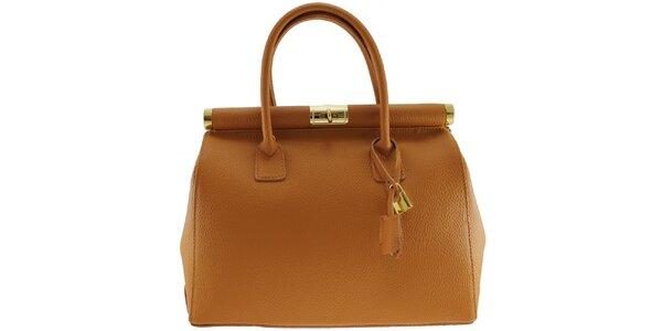 Dámska koňakovo hnedá kožená kabelka so zlatým zámčekom Florence Bags