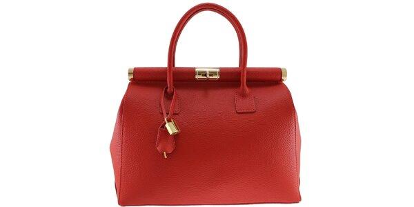 Dámska červená kožená kabelka so zlatým zámčekom Florence Bags