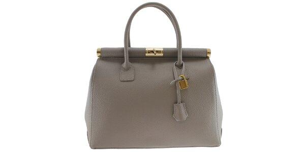 Dámska šedá kožená kabelka so zlatým zámčekom Florence Bags