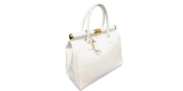 Dámska snehovo biela kožená kabelka so zlatým zámčekom Florence Bags