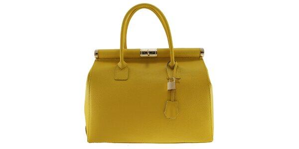 Dámska žltá kožená kabelka so zlatým zámčekom Florence Bags