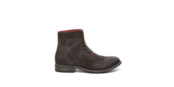 Pánske tmavo hnedé kotníkové topánky Steve Madden