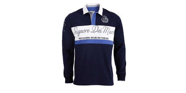 Pánske tmavo modré polo tričko s dlhými rukávmi a bielym pruhom Signore dei Mari