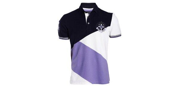 Pánske bielo-fialovo-čierne polo tričko Signore dei Mari